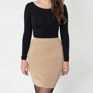 Club Monaco Tan Wool Mohair Blend Mini Skirt